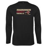 Performance Black Longsleeve Shirt-Roadrunners Hockey Stacked