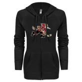 ENZA Ladies Black Light Weight Fleece Full Zip Hoodie-Mascot