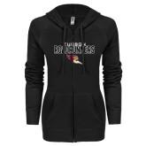 ENZA Ladies Black Light Weight Fleece Full Zip Hoodie-Tucson Roadrunners Stacked