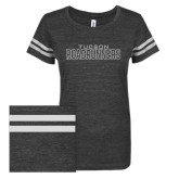ENZA Ladies Black/White Vintage Triblend Football Tee-Tucson Roadrunners White Soft Glitter