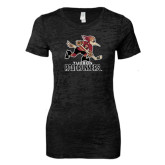Next Level Ladies Junior Fit Black Burnout Tee-Official Logo