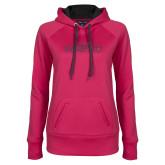 Ladies Pink Raspberry Tech Fleece Hoodie-Tucson Roadrunners Graphite Glitter