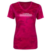 Ladies Pink Raspberry Camohex Performance Tee-Tucson Roadrunners