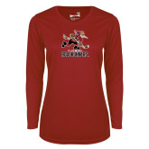 Ladies Syntrel Performance Cardinal Longsleeve Shirt-Official Logo