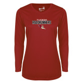 Ladies Syntrel Performance Cardinal Longsleeve Shirt-Tucson Roadrunners Stacked
