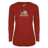 Ladies Syntrel Performance Cardinal Longsleeve Shirt-Badge Design