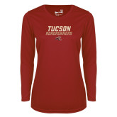 Ladies Syntrel Performance Cardinal Longsleeve Shirt-Tuscon Roadrunners - Lines