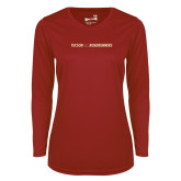 Ladies Syntrel Performance Cardinal Longsleeve Shirt-Crossed Hockey Sticks