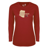 Ladies Syntrel Performance Cardinal Longsleeve Shirt-Tuscon Roadrunners Hockey w/ State