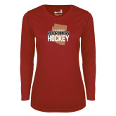 Ladies Syntrel Performance Cardinal Longsleeve Shirt-Tuscon Roadrunners Hockey w/ State Stacked