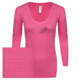 ENZA Ladies Hot Pink Long Sleeve V Neck Tee-Tucson Roadrunners Foil
