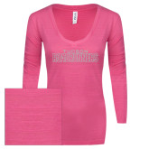 ENZA Ladies Hot Pink Long Sleeve V Neck Tee-Tucson Roadrunners White Soft Glitter
