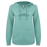 ENZA Ladies Seaglass V Notch Raw Edge Fleece Hoodie-Tucson Roadrunners Seaglass Glitter