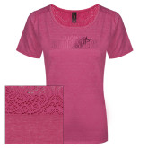 Ladies Dark Fuchsia Heather Tri-Blend Lace Tee-Tucson Roadrunners Foil