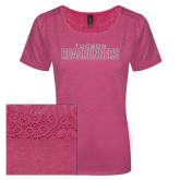 Ladies Dark Fuchsia Heather Tri-Blend Lace Tee-Tucson Roadrunners White Soft Glitter