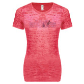 Next Level Ladies Junior Fit Fuchsia Burnout Tee-Tucson Roadrunners Foil