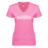 Next Level Ladies Junior Fit Ideal V Pink Tee-Tucson Roadrunners