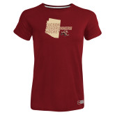 Ladies Russell Cardinal Essential T Shirt-Tuscon Roadrunners Hockey w/ State