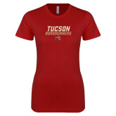 Next Level Ladies SoftStyle Junior Fitted Cardinal Tee-Tuscon Roadrunners - Lines