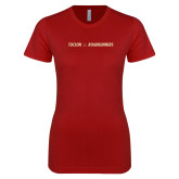 Next Level Ladies SoftStyle Junior Fitted Cardinal Tee-Crossed Hockey Sticks