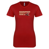 Next Level Ladies SoftStyle Junior Fitted Cardinal Tee-Roadrunners Hockey Stacked