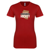 Next Level Ladies SoftStyle Junior Fitted Cardinal Tee-Tuscon Roadrunners Hockey w/ State Stacked