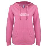 ENZA Ladies Hot Pink V Notch Raw Edge Fleece Hoodie-Tucson Roadrunners