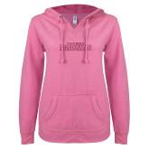 ENZA Ladies Hot Pink V Notch Raw Edge Fleece Hoodie-Tucson Roadrunners Hot Pink Glitter