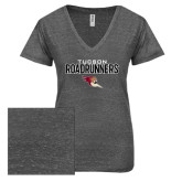 ENZA Ladies Graphite Melange V Neck Tee-Tucson Roadrunners Stacked