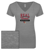 ENZA Ladies Graphite Melange V Neck Tee-Real Women Watch Hockey