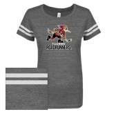 ENZA Ladies Dark Heather/White Vintage Triblend Football Tee-Official Logo