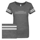 ENZA Ladies Dark Heather/White Vintage Triblend Football Tee-Tucson Roadrunners White Soft Glitter