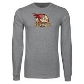 Grey Long Sleeve T Shirt-Badge Design
