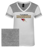 Ladies White/Heathered Nickel Juniors Varsity V Neck Tee-Tucson Roadrunners Stacked