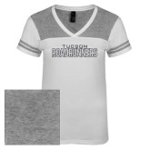 Ladies White/Heathered Nickel Juniors Varsity V Neck Tee-Tucson Roadrunners Graphite Glitter