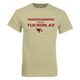 Khaki Gold T Shirt-Stacked Roadrunners Hockey Design