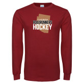 Cardinal Long Sleeve T Shirt-Tuscon Roadrunners Hockey w/ State Stacked