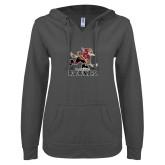 ENZA Ladies Dark Heather V Notch Raw Edge Fleece Hoodie-Official Logo
