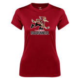 Ladies Syntrel Performance Cardinal Tee-Official Logo