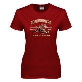 Ladies Cardinal T Shirt-Arched Roadrunners Hockey Design