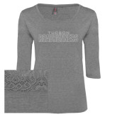 Ladies Grey Heather Tri Blend Lace 3/4 Sleeve Tee-Tucson Roadrunners White Soft Glitter