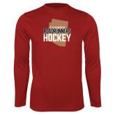 Performance Cardinal Longsleeve Shirt-Tuscon Roadrunners Hockey w/ State Stacked