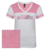 Ladies White/Bright Pink Juniors Varsity V Neck Tee-Tucson Roadrunners Foil