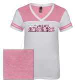 Ladies White/Bright Pink Juniors Varsity V Neck Tee-Tucson Roadrunners Hot Pink Glitter