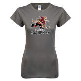 Ladies SoftStyle Junior Fitted Charcoal Tee-Official Logo