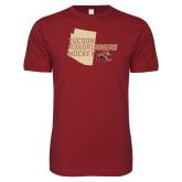 Next Level SoftStyle Cardinal T Shirt-Tuscon Roadrunners Hockey w/ State