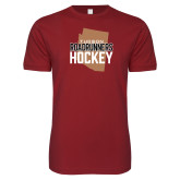 Next Level SoftStyle Cardinal T Shirt-Tuscon Roadrunners Hockey w/ State Stacked