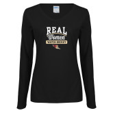 Ladies Black Long Sleeve V Neck T Shirt-Real Women Watch Hockey