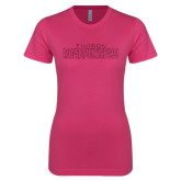 Ladies SoftStyle Junior Fitted Fuchsia Tee-Tucson Roadrunners Hot Pink Glitter