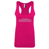 Next Level Ladies Raspberry Ideal Racerback Tank-Tucson Roadrunners White Soft Glitter